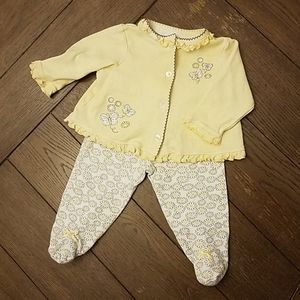 Little Me Yellow Spring Cardigan Pant Set 6 month